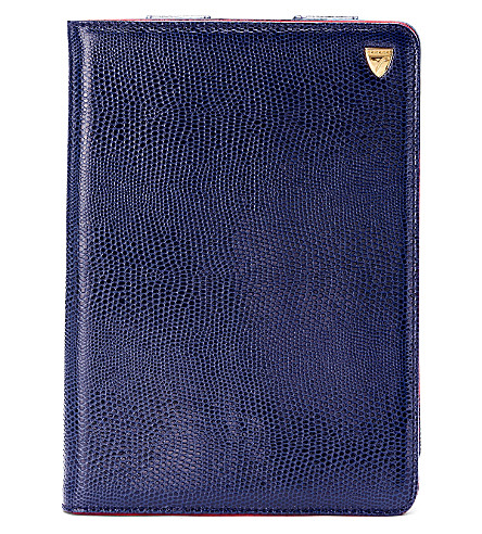 ASPINAL OF LONDON Ipad mini stand up case navy lizard & re (Navy lizard & red