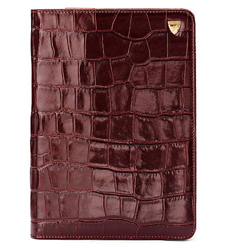 ASPINAL OF LONDON Croc-embossed leather iPad mini stand up case (Amazon brown&espress