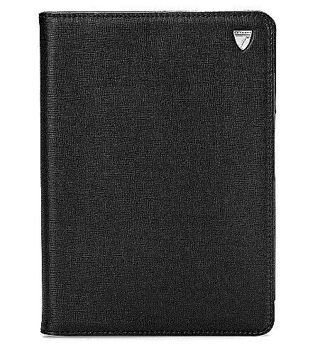 ASPINAL OF LONDON Ipad Mini saffiano leather stand-up case (Black