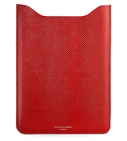 ASPINAL OF LONDON iPad Air lizard-embossed leather sleeve (Berry