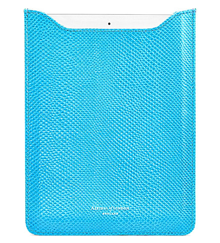 ASPINAL OF LONDON Ipad air lizard-embossed leather sleeve (Blue