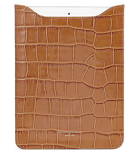ASPINAL OF LONDON Ipad air lizard-embossed leather sleeve (Tan