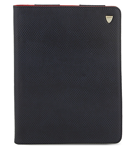 ASPINAL OF LONDON Ipad air lizard print leather stand-up case (Navy