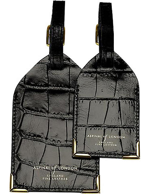 ASPINAL OF LONDON Set of two crocodile-embossed leather luggage tags e444341127