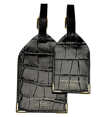 ASPINAL OF LONDON Set of two crocodile-embossed leather luggage tags (Black