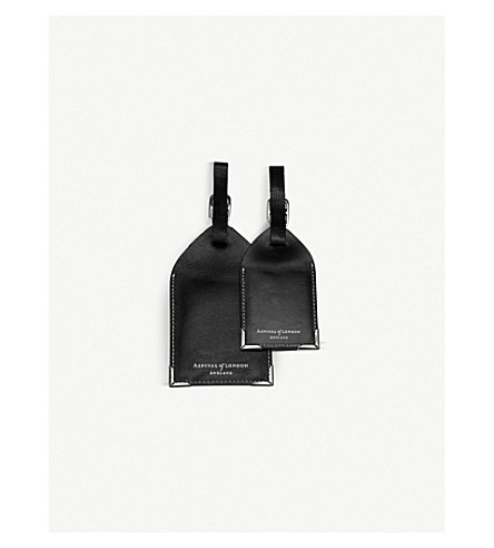 ASPINAL OF LONDON Set of two leather luggage tags (Black