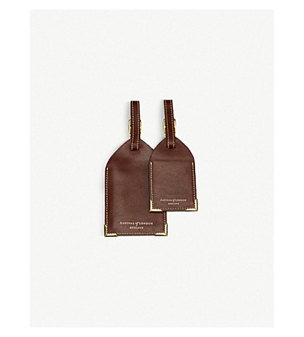 ASPINAL OF LONDON Set of 2 leather luggage tags (Cognac