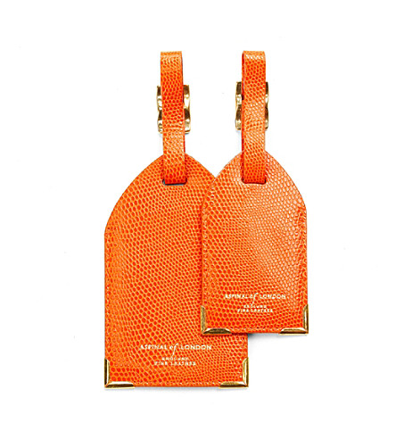 ASPINAL OF LONDON Set of two lizard-embossed leather luggage tags (Orange