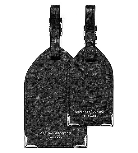 ASPINAL OF LONDON Set of two luggage tags black saffiano (Black