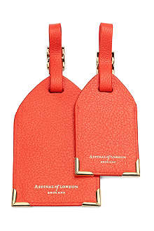 ASPINAL OF LONDON Pair of pebbled leather luggage tags