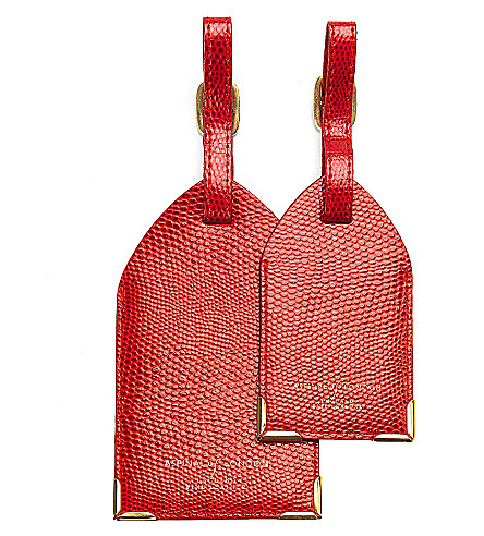 ASPINAL OF LONDON Set of 2 lizard-print leather luggage tags (Berry