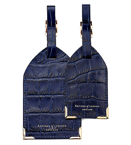 ASPINAL OF LONDON Set of two lizard-embossed leather luggage tags (Blue