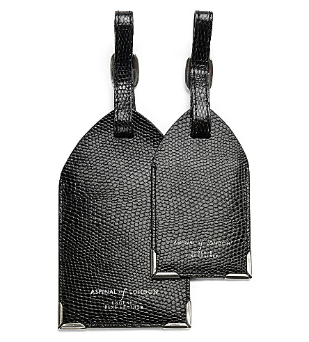 ASPINAL OF LONDON Set of two lizard-embossed leather luggage tags (Black