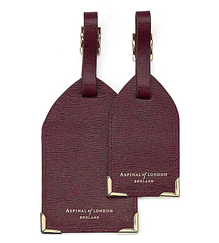 ASPINAL OF LONDON Set of two saffiano leather luggage tags (Burgundy