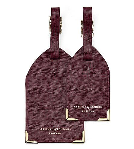 ASPINAL OF LONDON 一套两 saffiano 皮革行李标签 (勃艮第