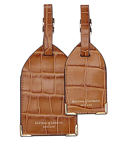 ASPINAL OF LONDON Set of two lizard-embossed leather luggage tags (Tan