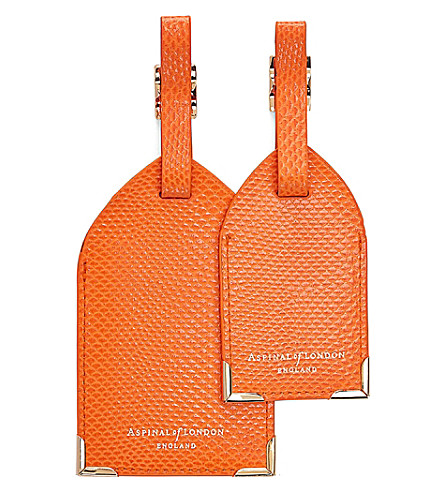ASPINAL OF LONDON 爬行动物效果皮革行李标签集 2 (橙色