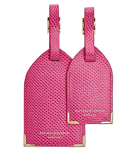 ASPINAL OF LONDON Reptile-embossed leather luggage tags set of 2 (Pink