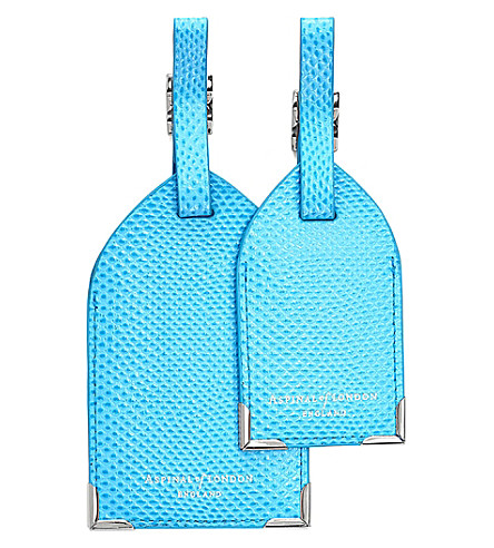 ASPINAL OF LONDON Reptile-embossed leather luggage tags set of 2 (Blue