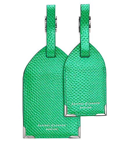 ASPINAL OF LONDON Reptile-embossed leather luggage tags set of 2 (Green