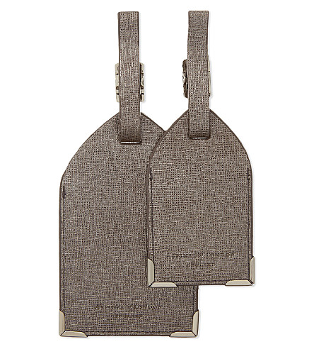 ASPINAL OF LONDON Set of two saffiano leather luggage tags (Grey