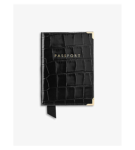 ASPINAL OF LONDON Crocodile effect leather passport cover (Black