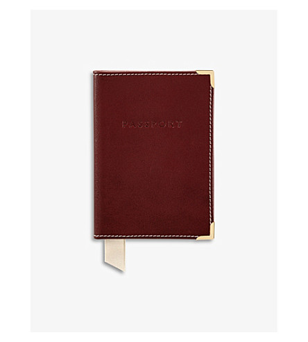 ASPINAL OF LONDON Plain leather passport holder (Cognac