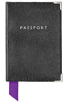 ASPINAL Lizard-print leather passport cover