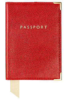 ASPINAL Plain lizard-print passport cover