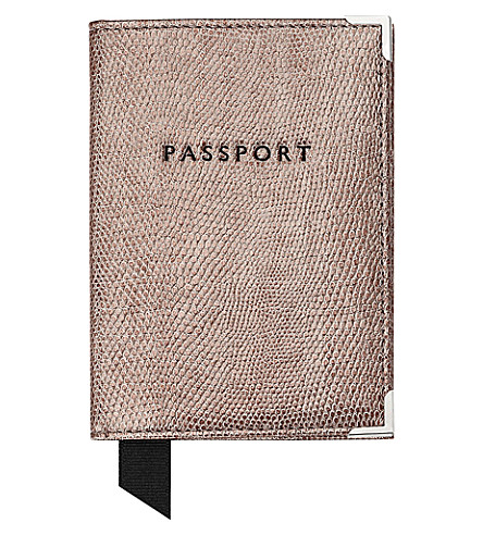 ASPINAL OF LONDON Lizard-embossed leather passport cover (Silver