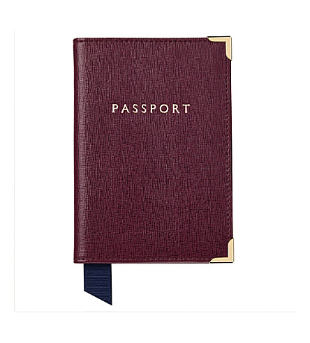 ASPINAL OF LONDON Saffiano leather passport cover (Burgundy