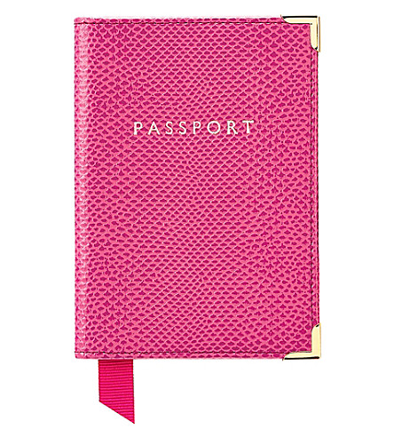 ASPINAL OF LONDON Reptile effect leather passport cover (Pink