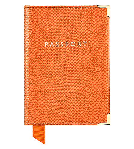 ASPINAL OF LONDON Reptile effect leather passport cover (Orange