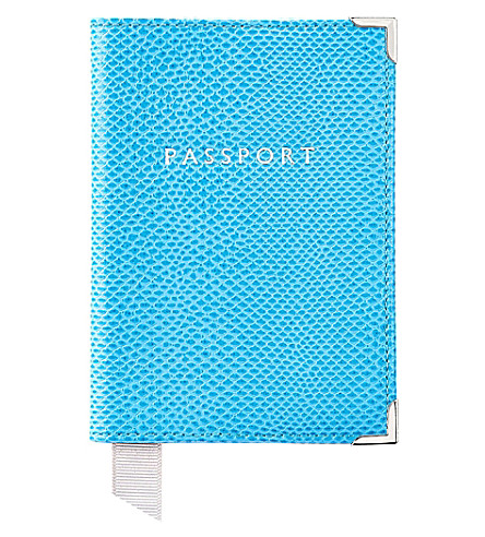 ASPINAL OF LONDON Reptile effect leather passport holder (Blue