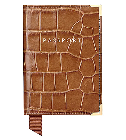ASPINAL OF LONDON Crocodile effect leather passport cover (Tan