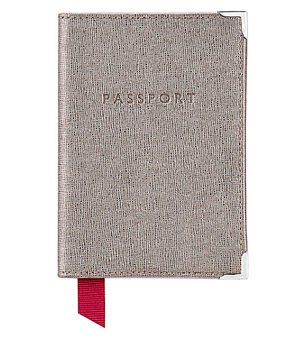 ASPINAL OF LONDON Saffiano leather passport cover (Grey