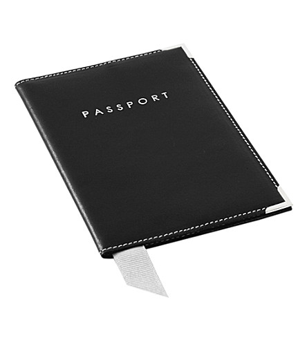 ASPINAL OF LONDON Plain smooth leather passport cover (Black