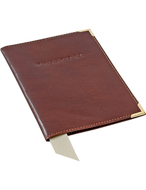 ASPINAL OF LONDON Plain smooth leather passport cover