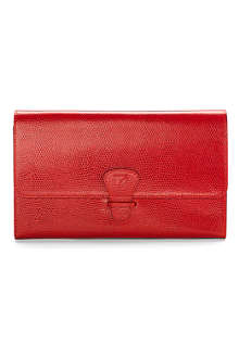 ASPINAL Classic lizard-print leather travel wallet