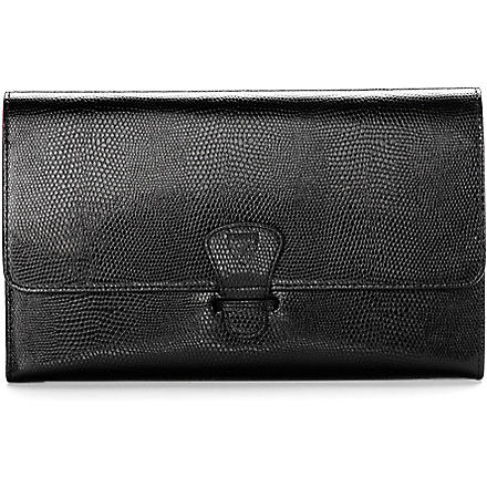 ASPINAL OF LONDON Classic lizard-print travel wallet (Black