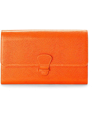 ASPINAL OF LONDON Classic leather lizard-print travel wallet