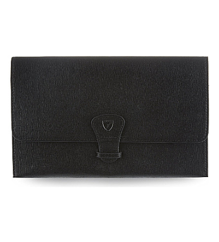 ASPINAL OF LONDON Classic leather travel wallet (Black