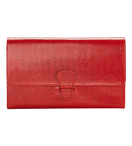ASPINAL OF LONDON Classic leather lizard-print travel wallet (Berry