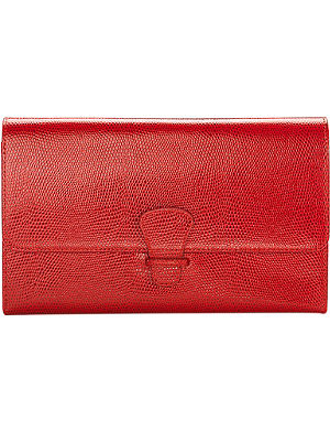 ASPINAL OF LONDON Classic lizard-print leather travel wallet