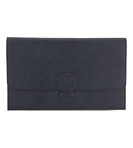 ASPINAL OF LONDON Classic lizard-effect leather travel wallet (Blue