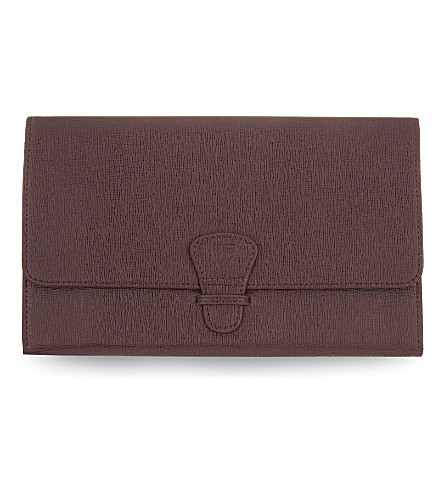 ASPINAL OF LONDON Saffiano leather classic travel wallet (Burgundy