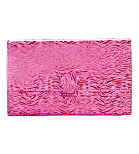 ASPINAL OF LONDON Classic reptile-embossed leather travel wallet (Pink