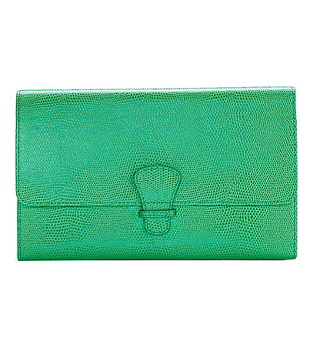 ASPINAL OF LONDON 经典爬行动物-浮雕皮革旅行钱包 (绿色