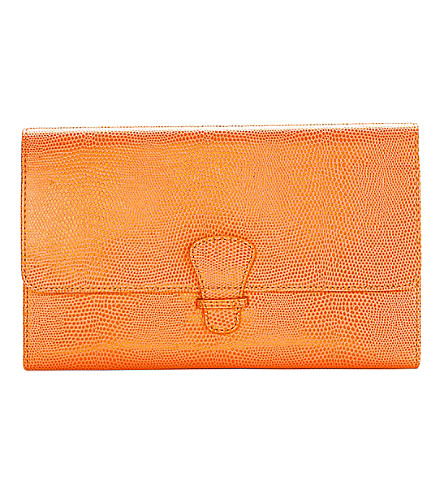 ASPINAL OF LONDON Classic reptile-embossed leather travel wallet (Orange