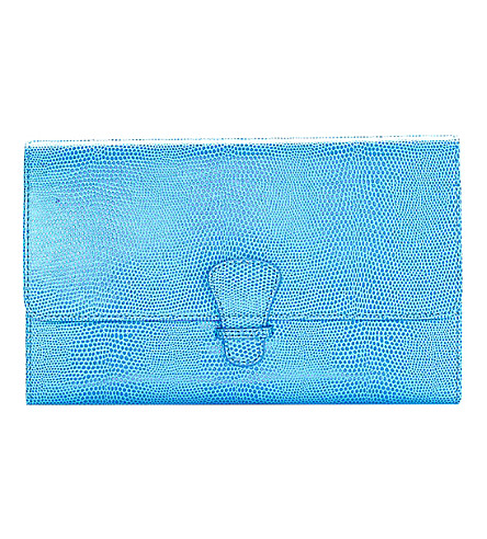 ASPINAL OF LONDON Classic reptile-embossed leather travel wallet (Blue